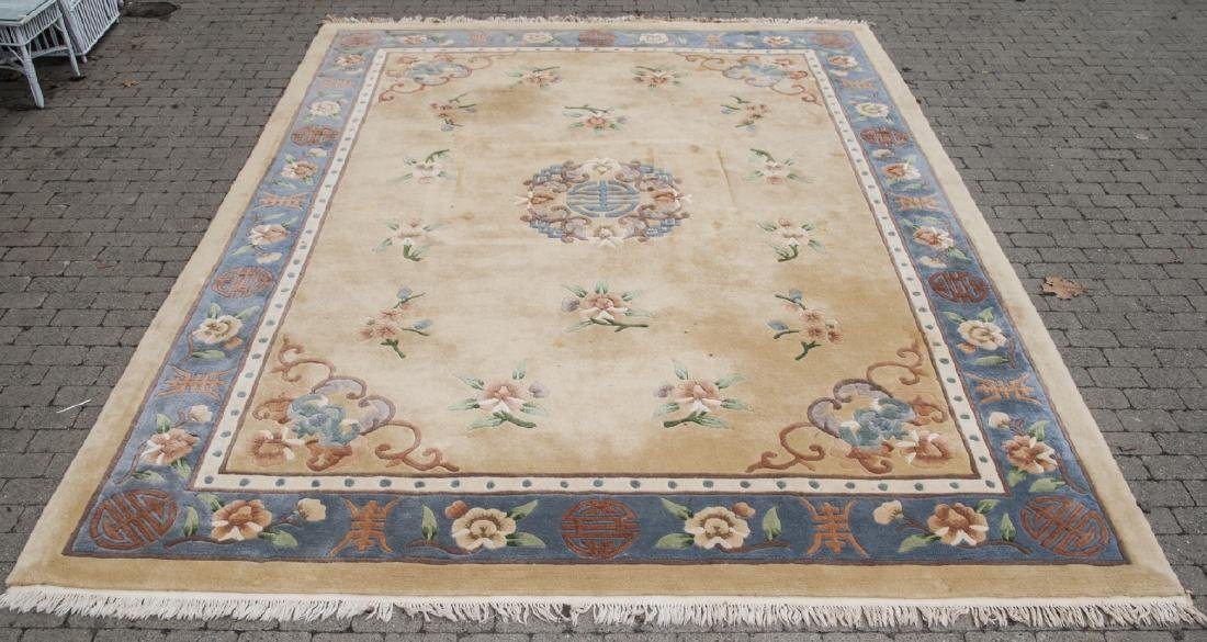 Tan & Blue Chinese Art Deco Style Oriental Rug