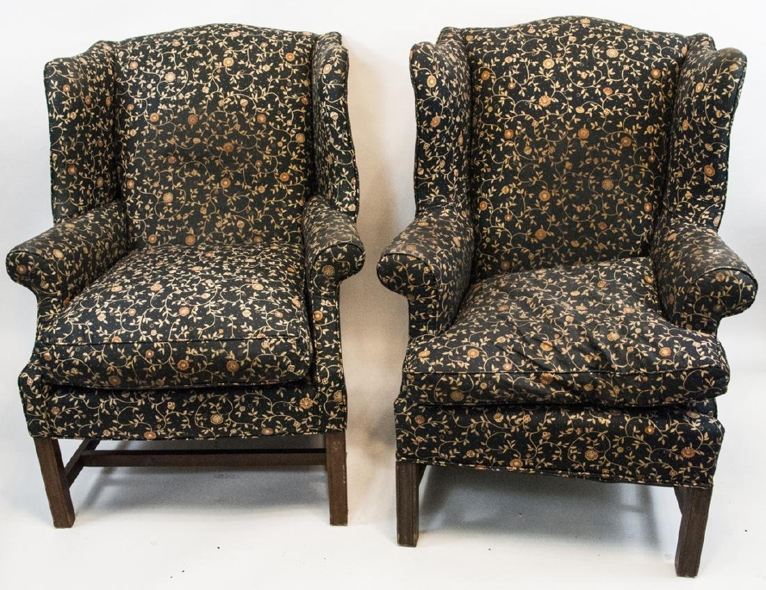 Two Black Wingbrook Chairs W/ Goldvine Pattern