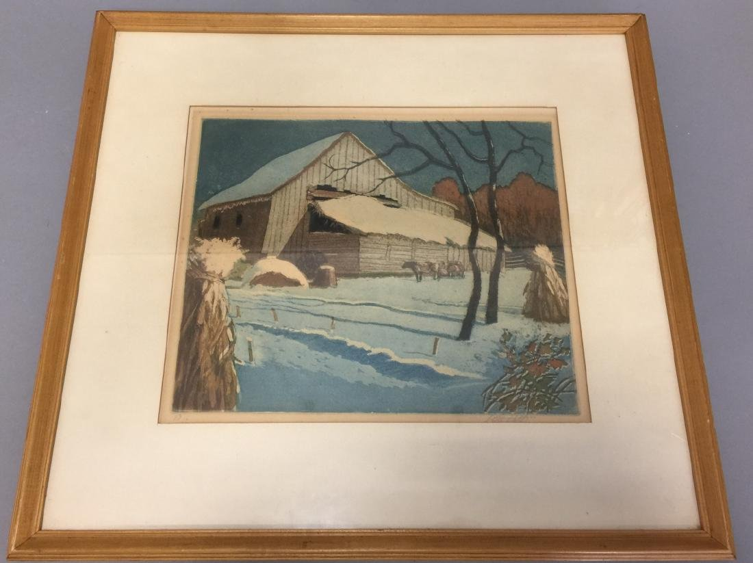 Framed Lewis Oscar Griffith Color Etching
