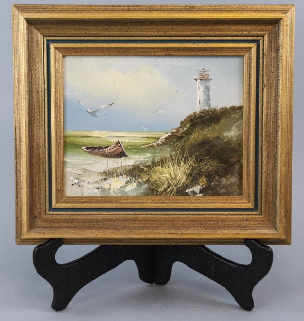 T. Engel Oil On Canvas Light House Painting