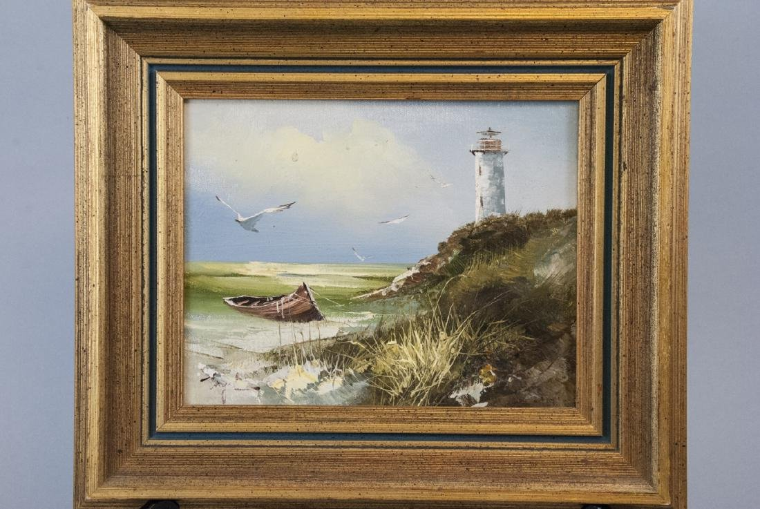 T. Engel Oil On Canvas Light House Painting - 6