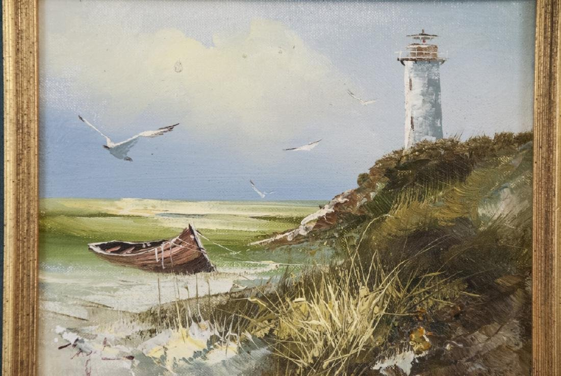 T. Engel Oil On Canvas Light House Painting - 7
