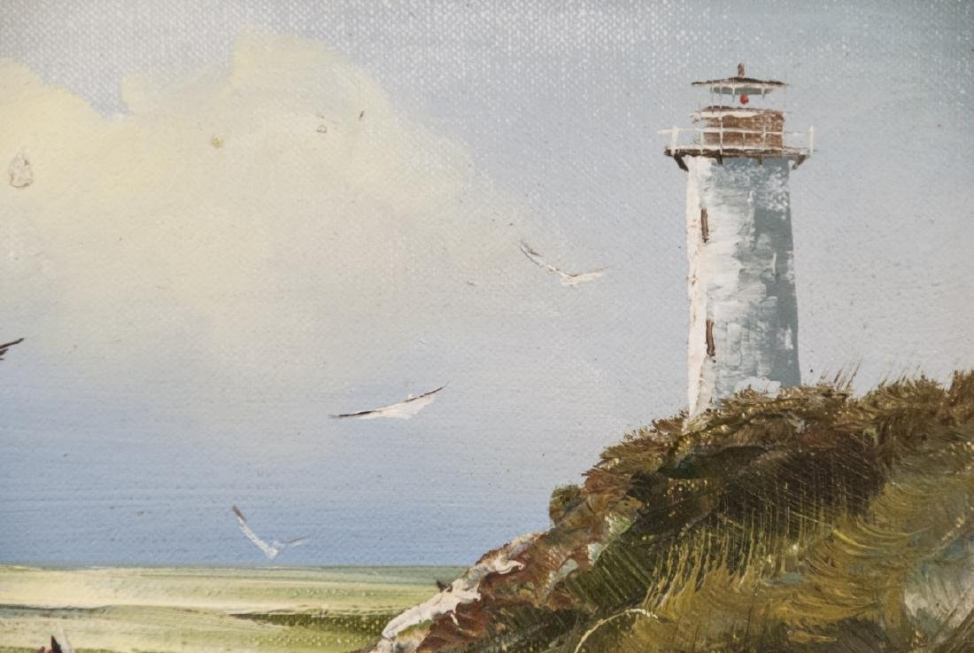 T. Engel Oil On Canvas Light House Painting - 8
