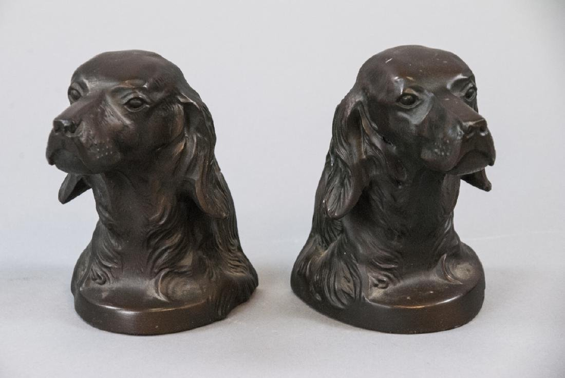 Pair Of Vintage Bronze Hunting Dog Bookends
