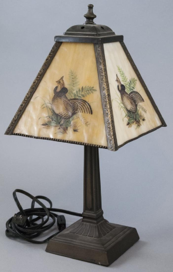 Vintage Small Lamp W/ Glass Grove Game Bird Shade