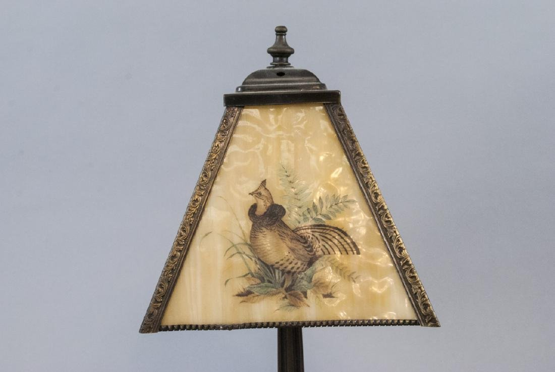 Vintage Small Lamp W/ Glass Grove Game Bird Shade - 6