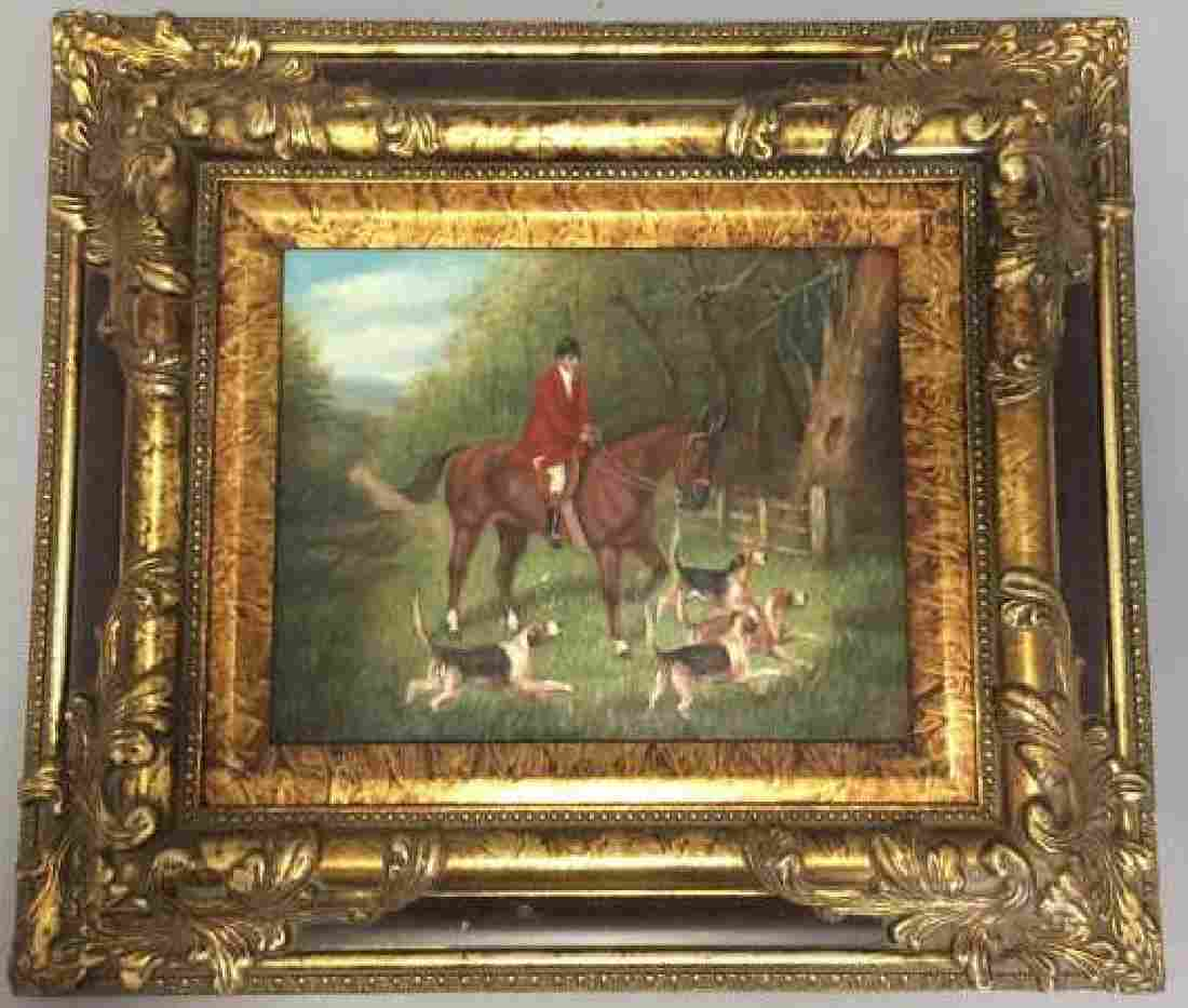 Contemporary Oil On Board English Hunting Painting