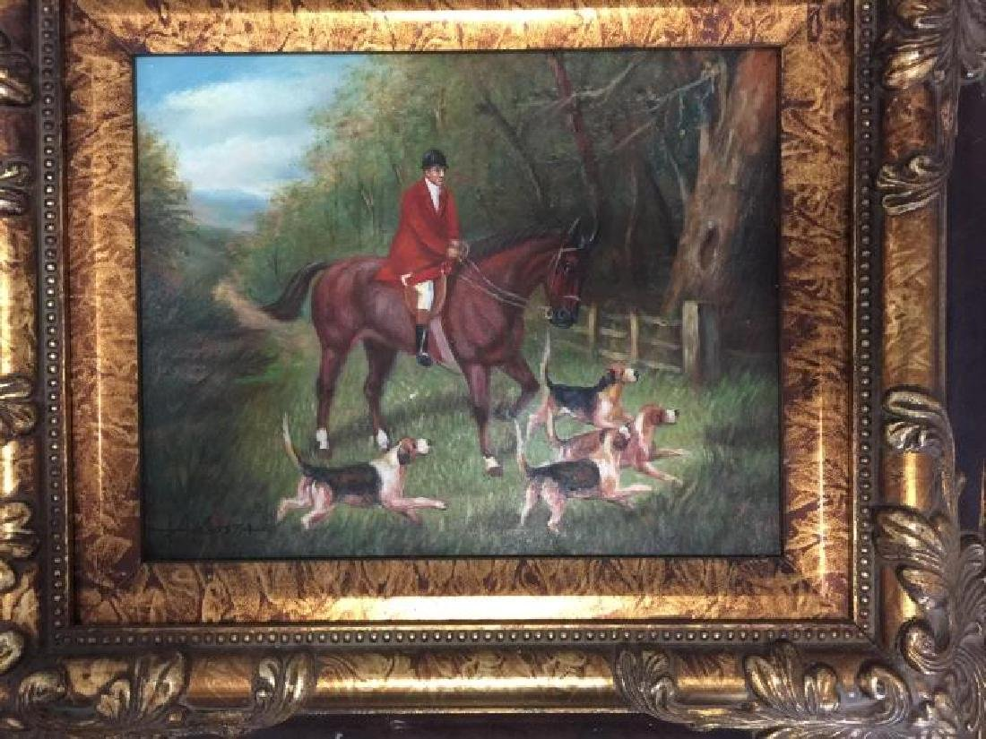 Contemporary Oil On Board English Hunting Painting - 3
