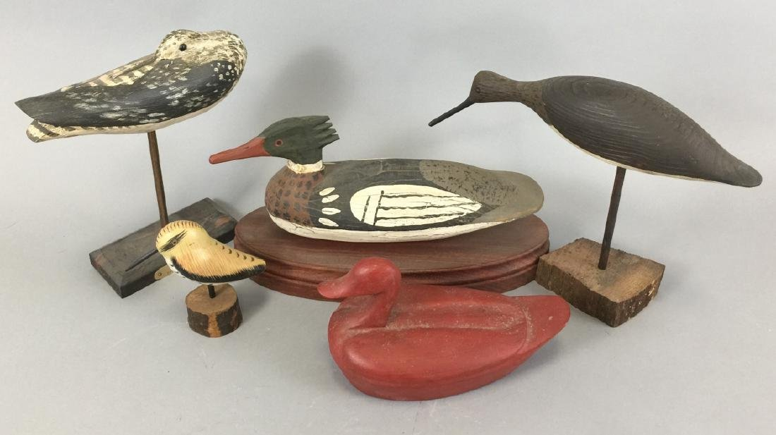 Assorted Lot Of  4 Wood Decoys & 1 Box