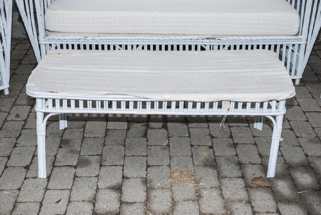 Vintage White Wicker Outdoor Bench & Chairs - 3
