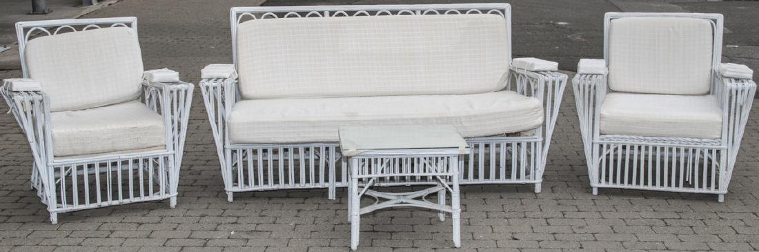 Vintage White Wicker Outdoor Bench & Chairs