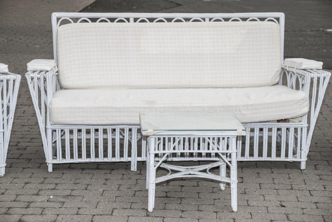 Vintage White Wicker Outdoor Bench & Chairs - 2