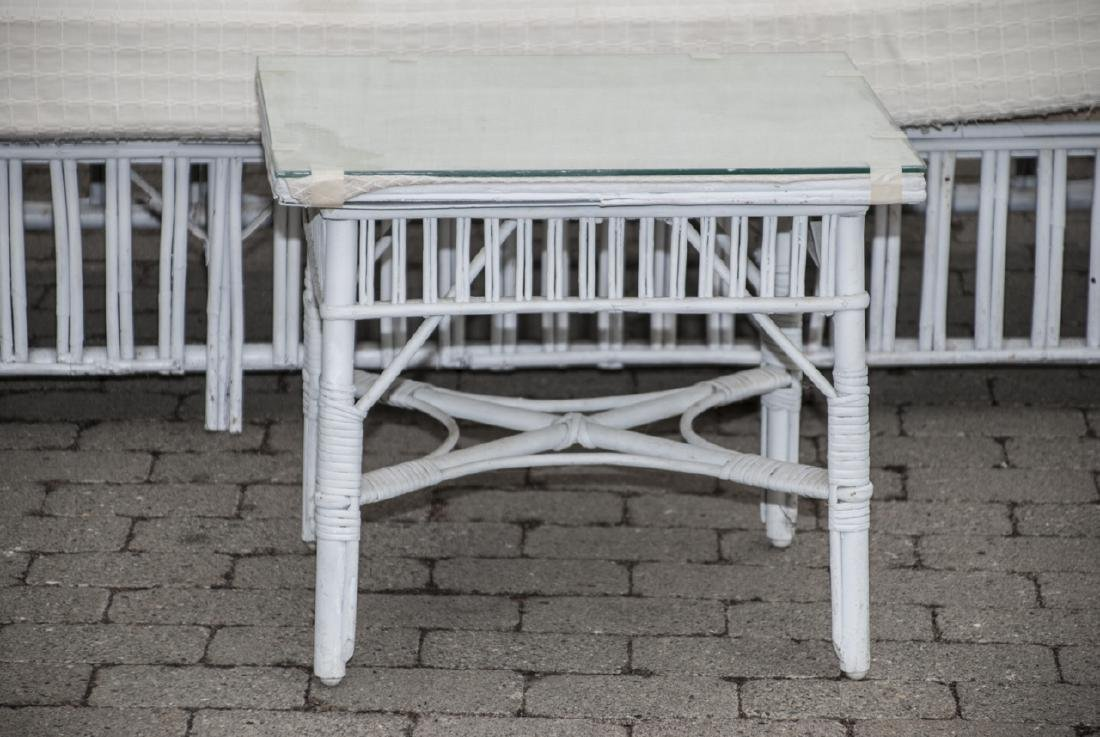 Vintage White Wicker Outdoor Bench & Chairs - 4