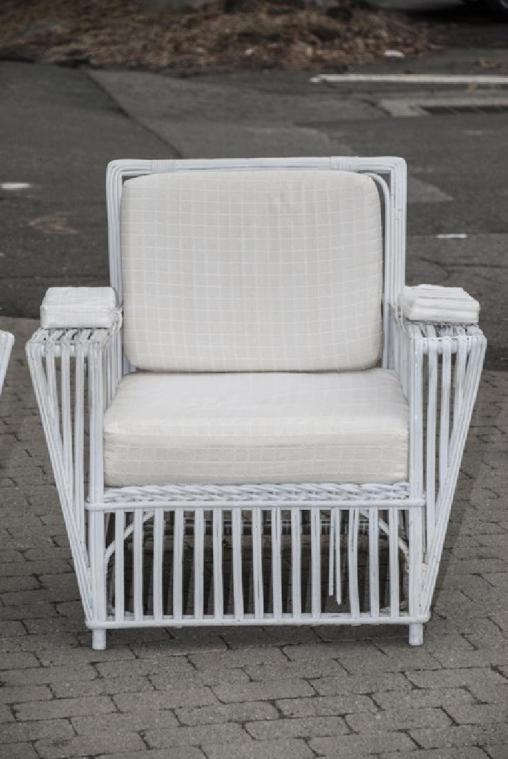 Vintage White Wicker Outdoor Bench & Chairs - 5
