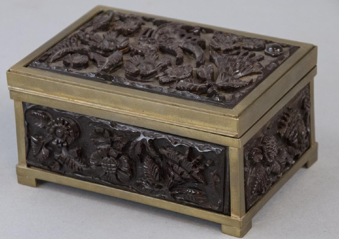 Antique Carved Bakelite & Ormolu Jewelry Box