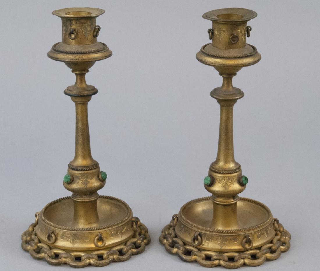 Pair Antique 19th C Ormolu & Malachite Candlestick