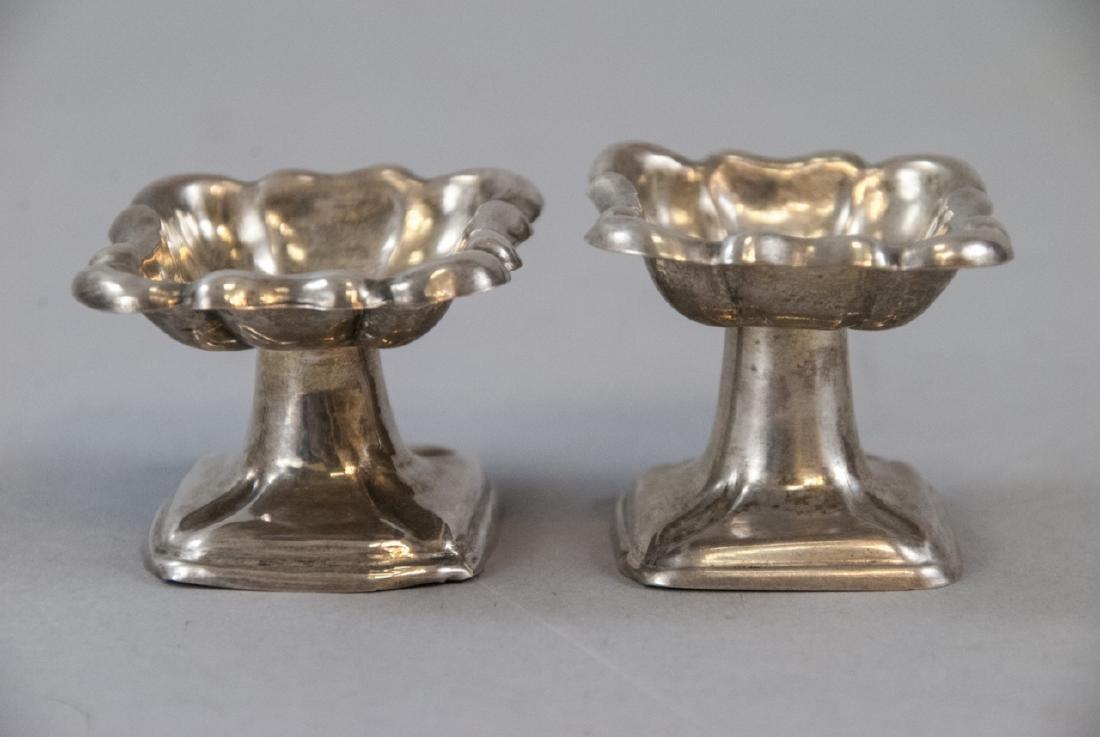 Pair Antique 19th C Austrian Silver Salt Compotes