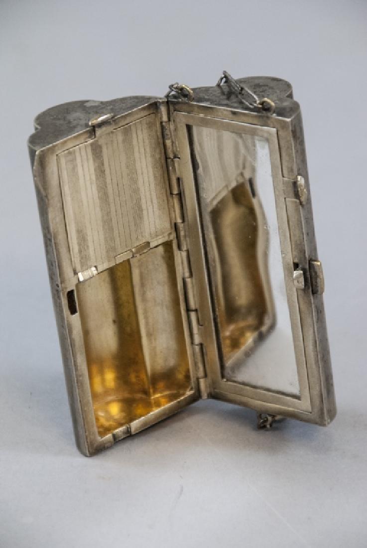 Antique Silver Plate Flapper Era Compact / Purse - 3