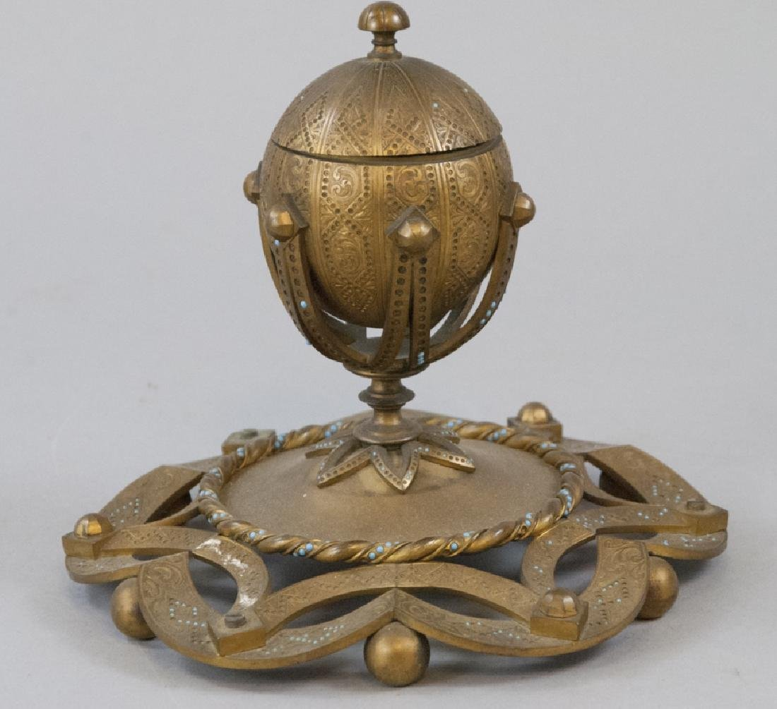 Antique 19th C Ormolu Inkwell w Persian Turquoise