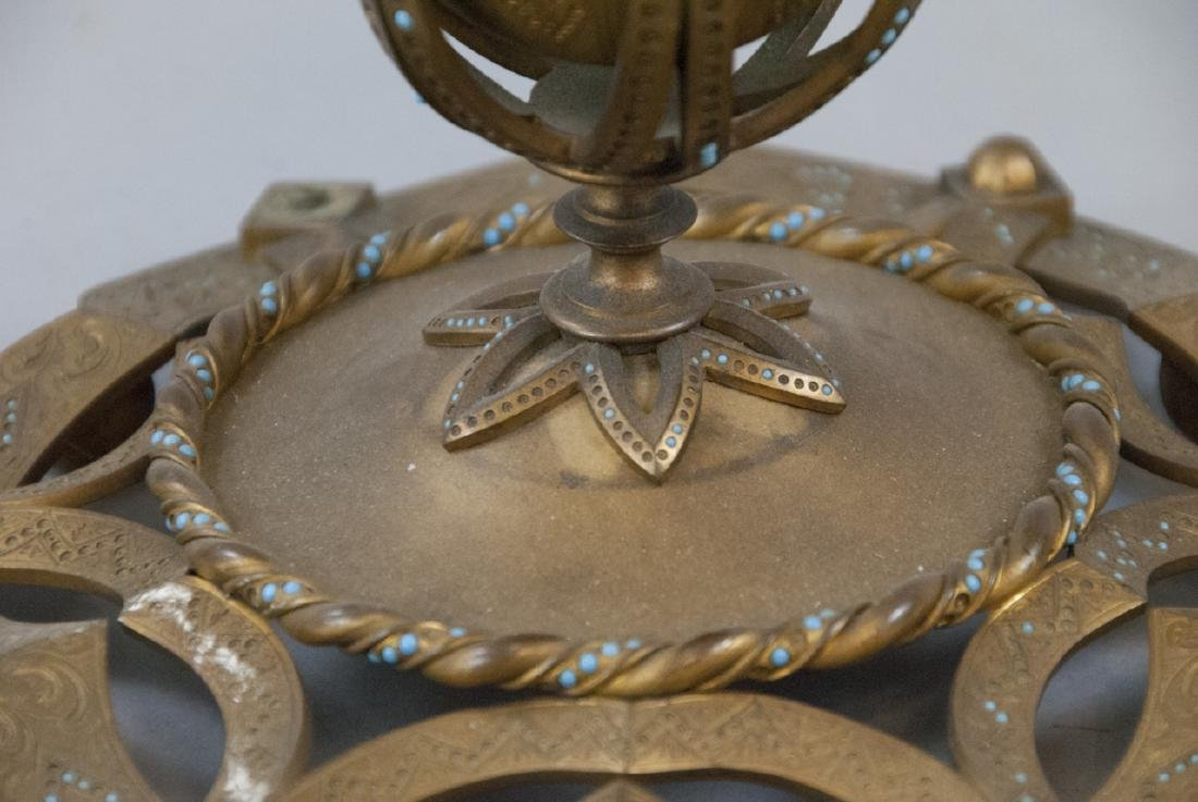 Antique 19th C Ormolu Inkwell w Persian Turquoise - 5