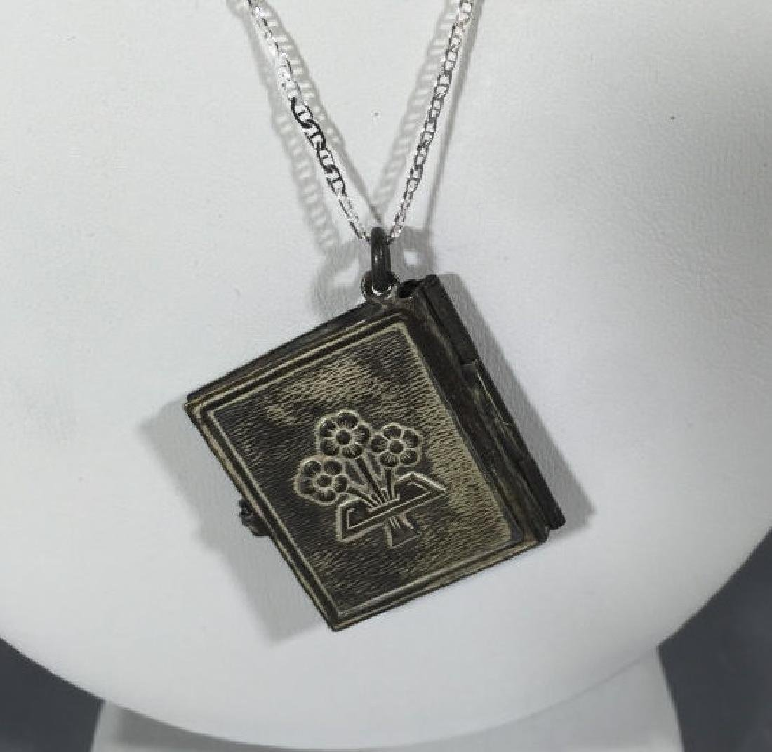 Antique Book Form Locket on Sterling Silver Chain