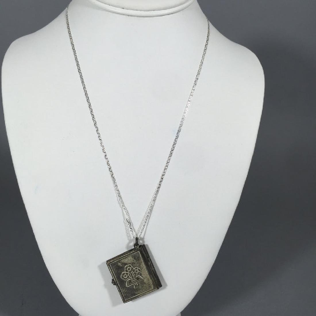 Antique Book Form Locket on Sterling Silver Chain - 2