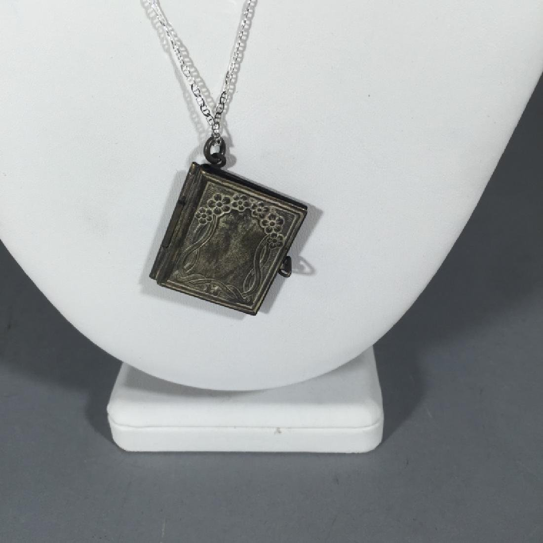 Antique Book Form Locket on Sterling Silver Chain - 3