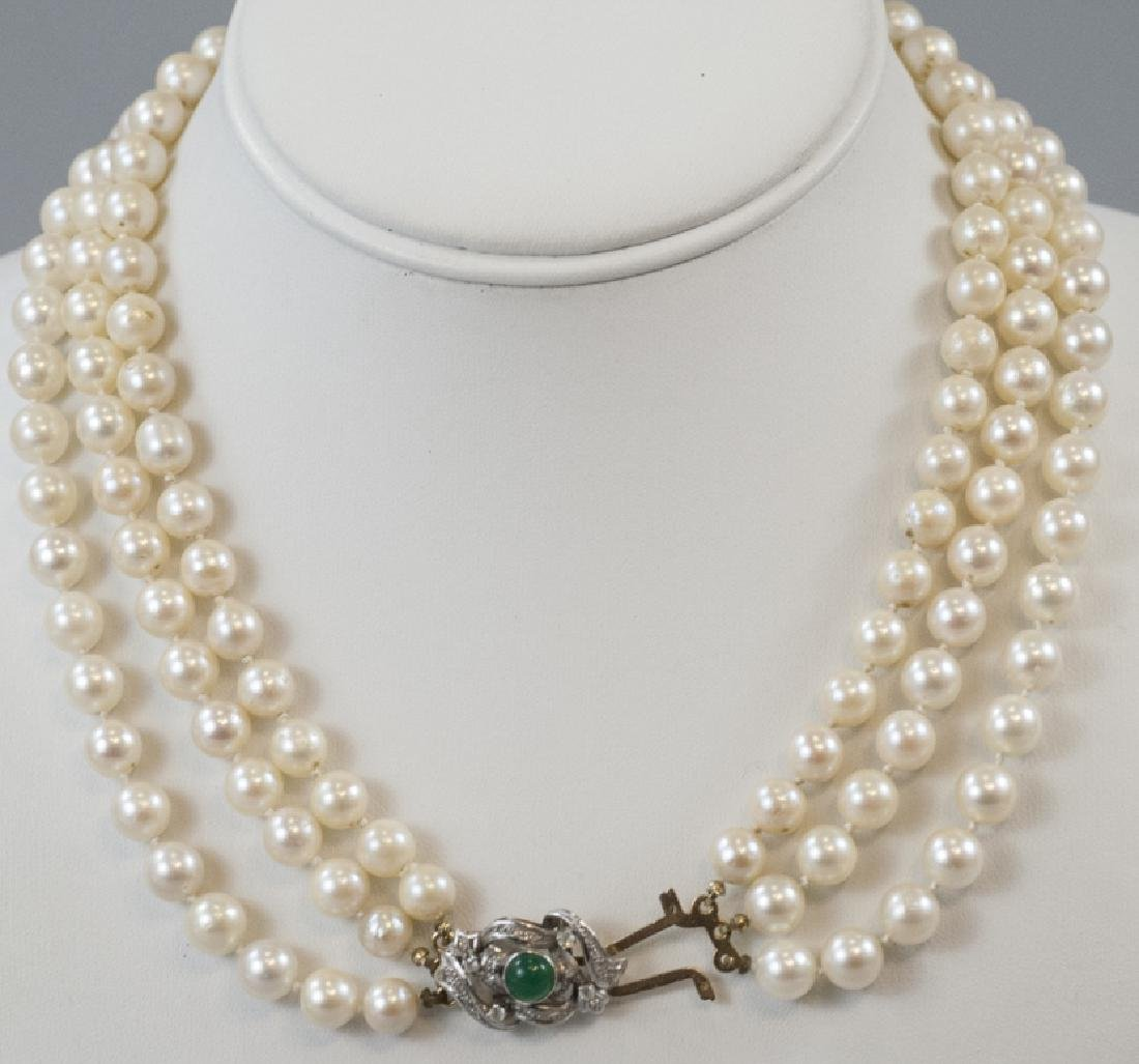 Estate Triple Strand Cultured Pearl Necklace