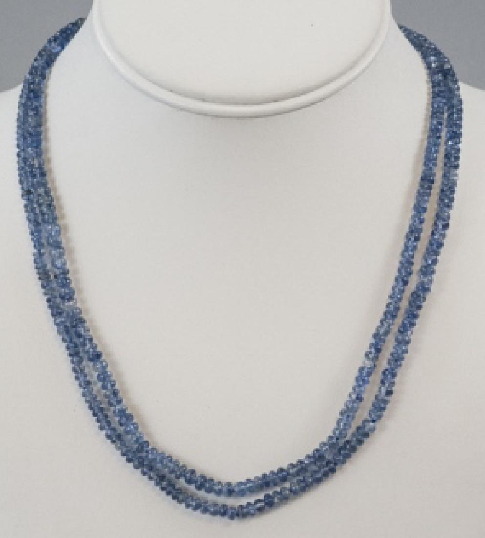 Estate 14kt Diamond & Sapphire Bead Necklace