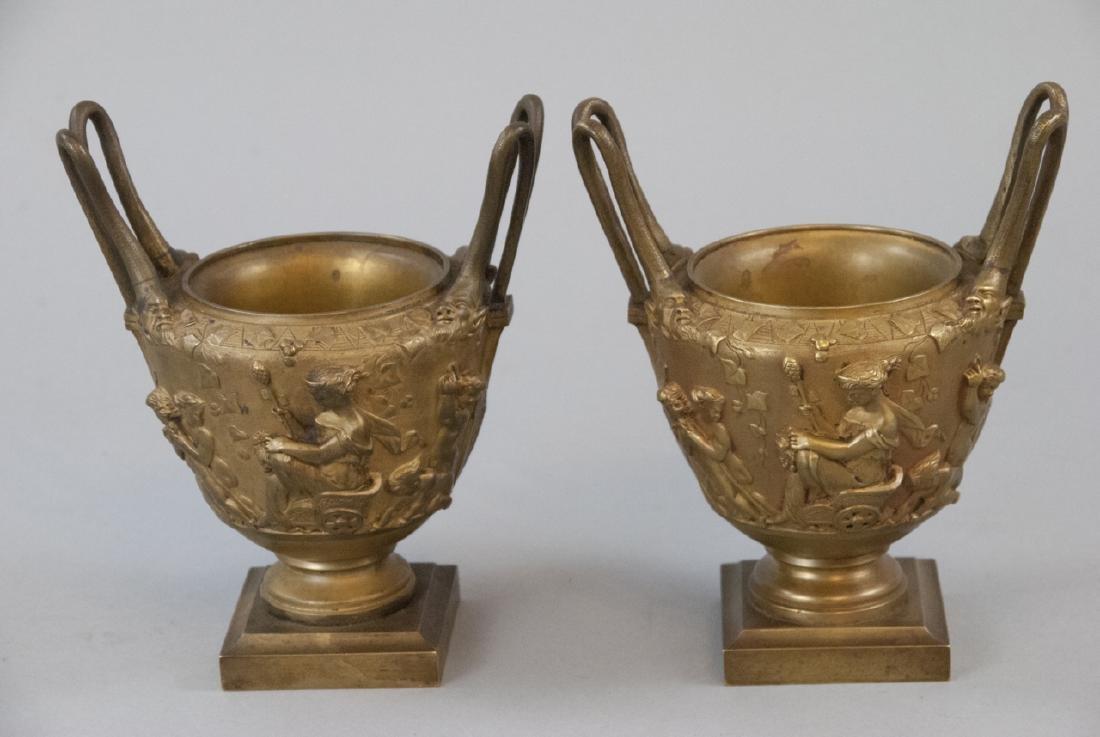 Pair Antique 19th C Gilt Bronze Ormolu Urns / Vase