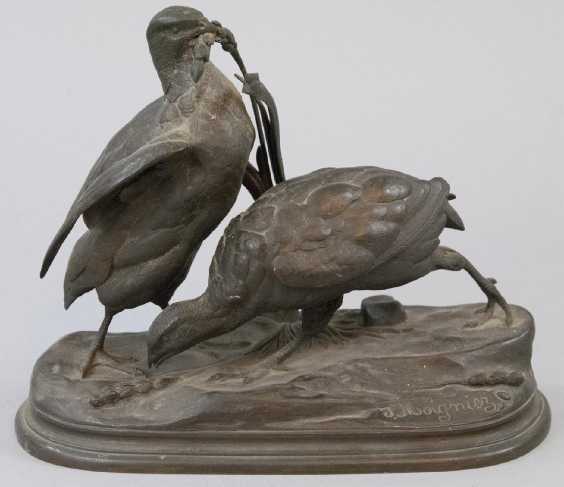 Jules Moigniez Antique 19th C Bronze Birds Statue