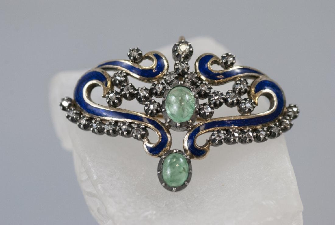 Estate Georgian Style Emerald Diamond & Enamel