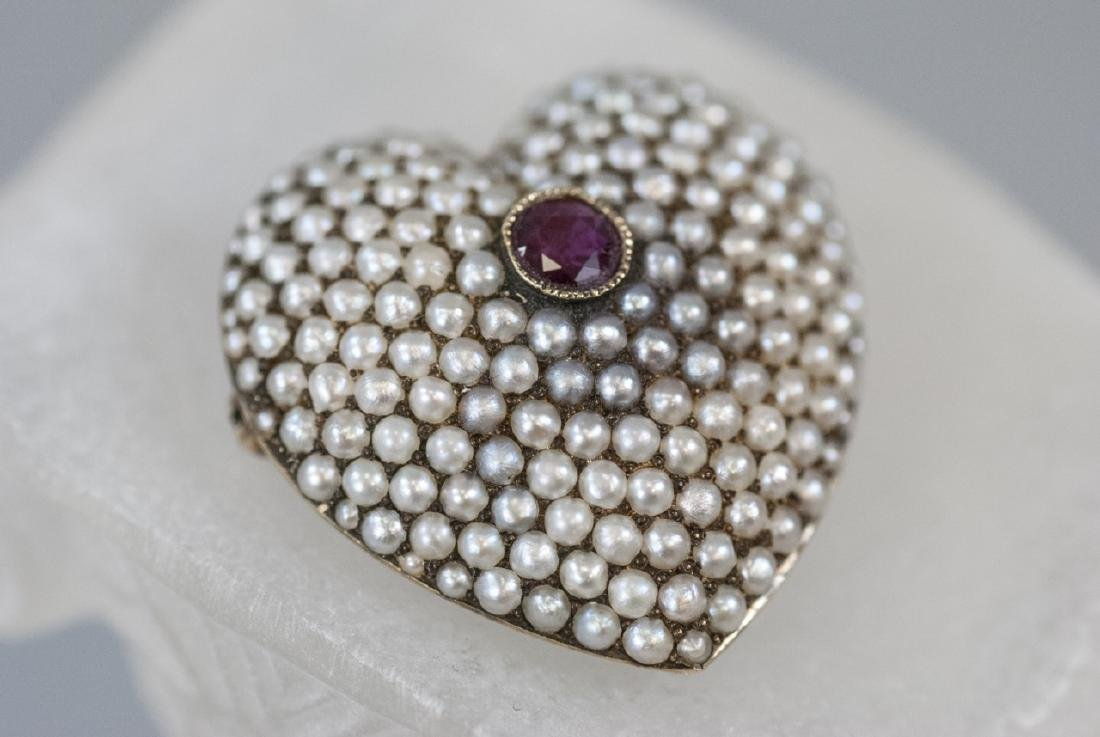 Antique 14kt Gold Seed Pearl & Ruby Heart Pendant
