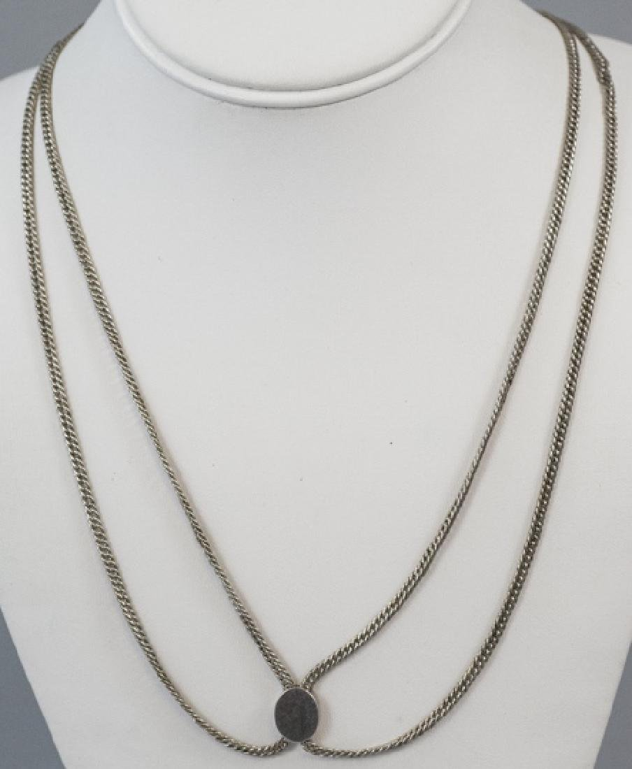 Antique 19th C Sterling Guard Chain Necklace