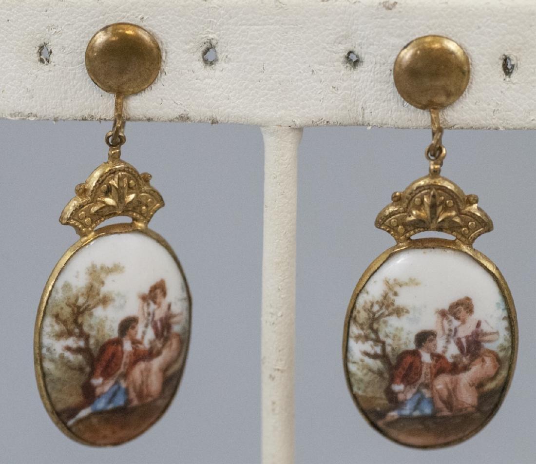 Pair Antique Gilt Metal & Porcelain Plaque Earring