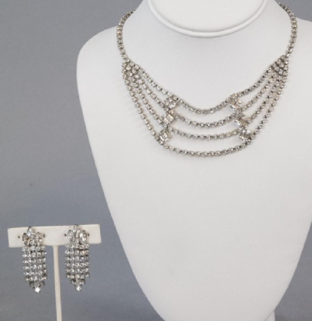 Vintage Kramer Rhinestone Necklace & Earring Set