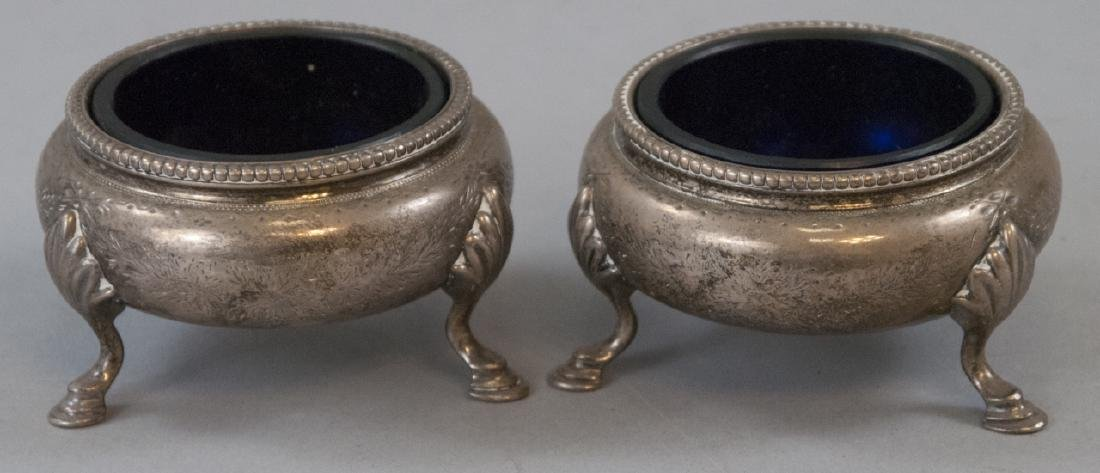 Pair Antique English Sterling & Cobalt Salt Cellar