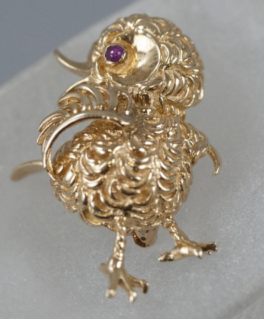 Estate 14kt Gold & Ruby Baby Chick Brooch / Pin
