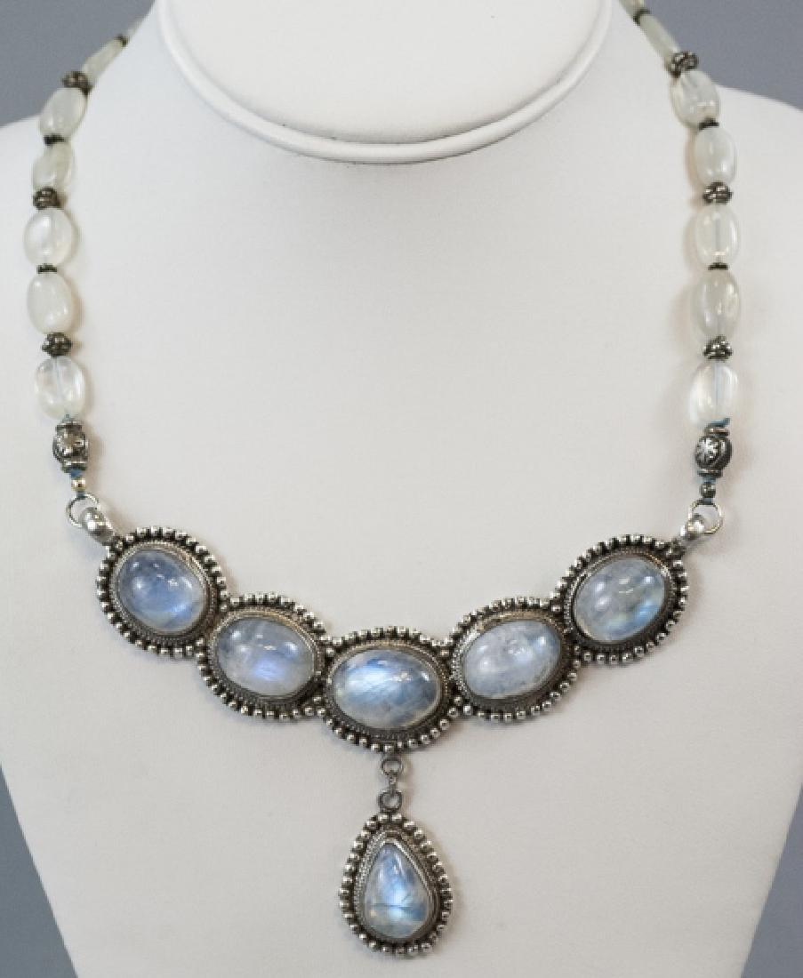 Modernist Sterling Silver & Moonstone Necklace