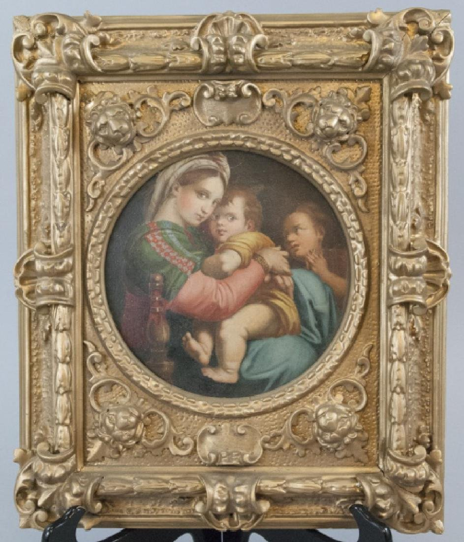 Antique 19th C Oil Painting w Frame After Raphael