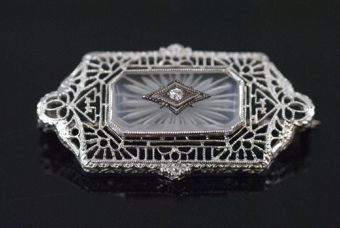 Estate Edwardian Style Rock Crystal Diamond Brooch