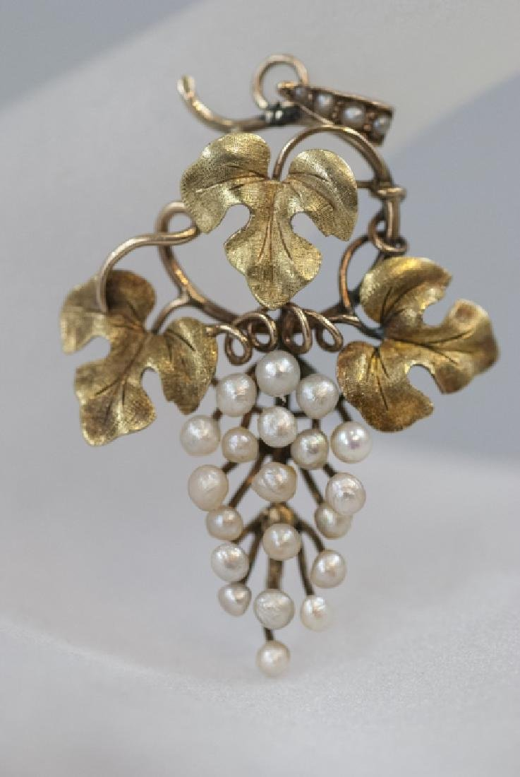 Antique 14kt Gold & Seed Pearl Necklace Pendant