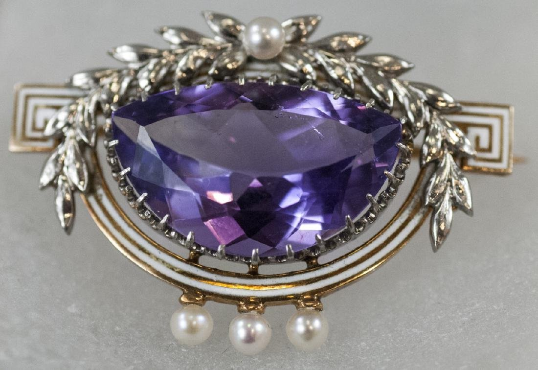 Antique Riker Bros Platinum 14kt & Amethyst Brooch