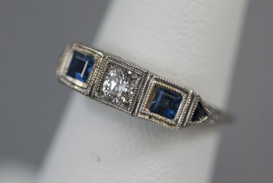 Estate 18kt White Gold Diamond Sapphire Ring