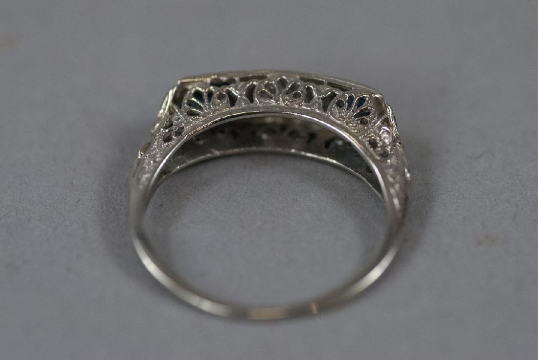 Estate 18kt White Gold Diamond Sapphire Ring - 2