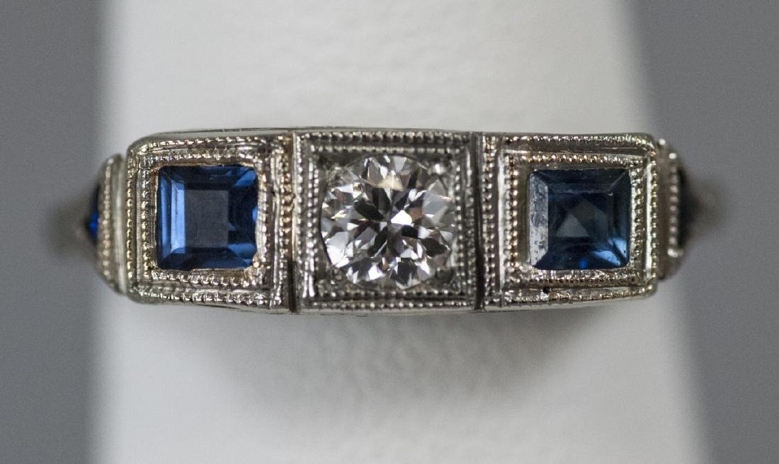 Estate 18kt White Gold Diamond Sapphire Ring - 4