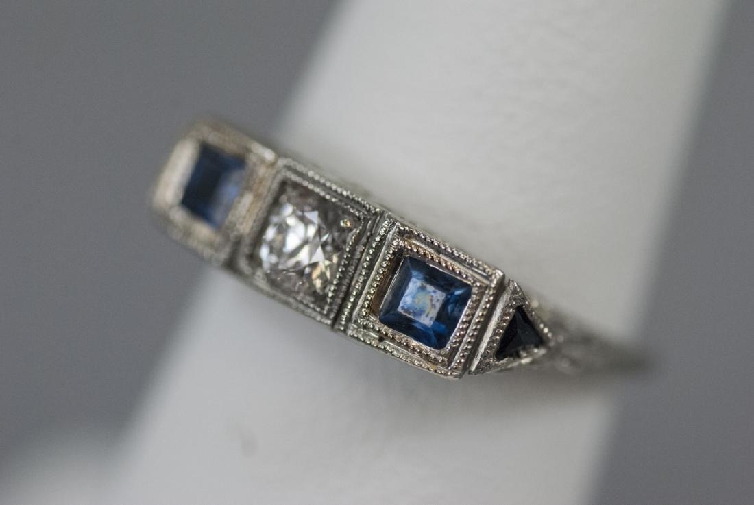 Estate 18kt White Gold Diamond Sapphire Ring - 5