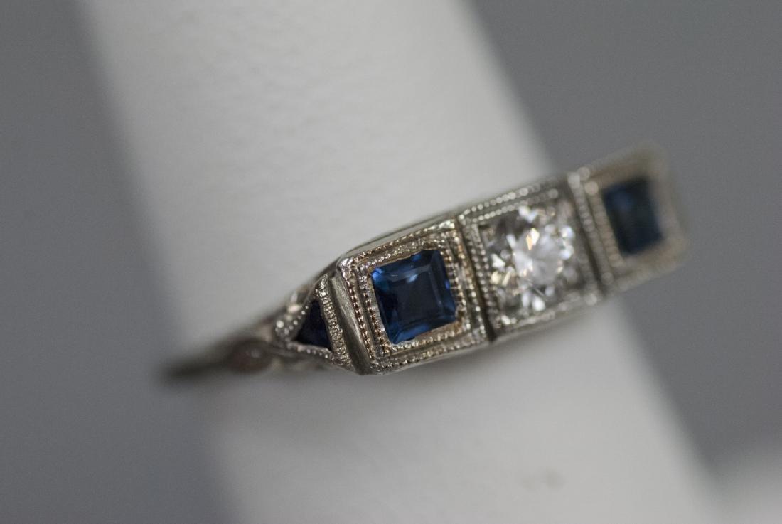 Estate 18kt White Gold Diamond Sapphire Ring - 6