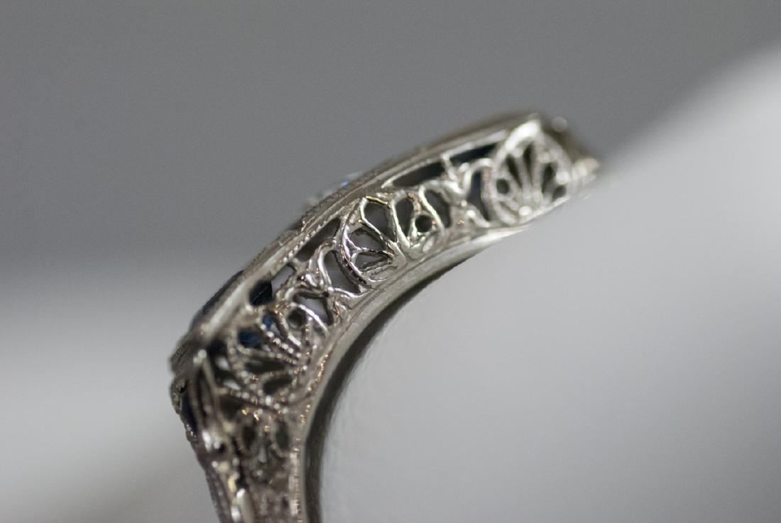 Estate 18kt White Gold Diamond Sapphire Ring - 7