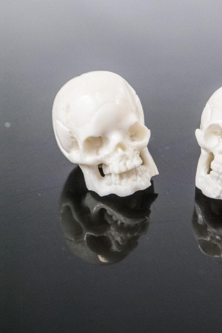 Pair Memento Mori Human Skull Necklace Pendants - 2